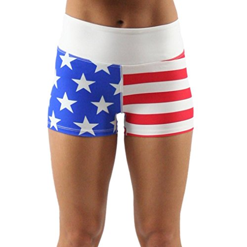 B.O.A Boa Womens 2.5' US Flag Compression Fit Booty Running Short (6713P)(Us Flag, X-Large)