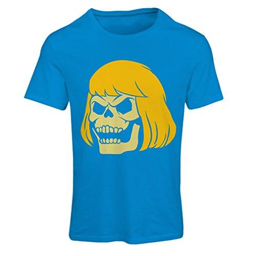 lepni.me N4411F Camiseta Mujer Blonde Skull (Large Azul Multicolor)