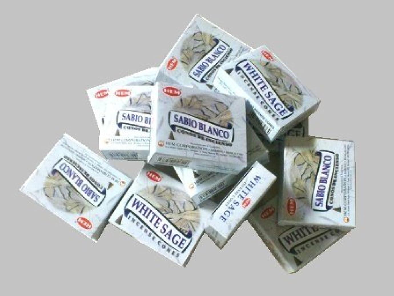 エスカレート妥協聴衆HEM(ヘム)お香コーン ホワイトセージ 1ケース(10粒入り1箱×12箱)