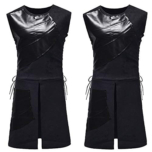 Allegorly Mittelalterliche Leder Weste Geschnürt Ärmellos Party Cosplay Custome Bluse Männer Tops Party Mittelalter Leder Weste Lace Up ärmellose Cosplay Kostüm Bluse