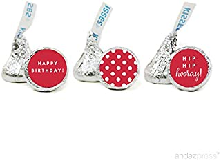 Andaz Press Chocolate Drop Labels Trio, Fits Hershey's Kisses, Happy Birthday, Red, 216-Pack