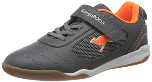 KangaROOS Unisex Kinder Nicourt EV Sneaker, Steel Grey/Neon Orange, 39 EU