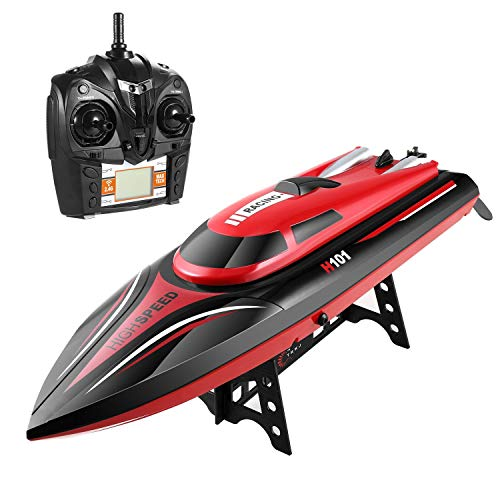 SZJJX Remote Control Boats 2.4GHz 4 Channels RC Electric Racing Boat 30KM/H High Speed Automatically 180 Degree Flipping Transmitter with LCD Screen Red