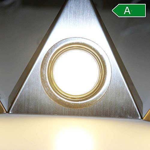 Mittelstück LED Unterbauleuchten mit Schalter für Küche Schrank 4000K (neutralweiß) – Dreieck-Design aus Edelstahl – Küchenleuchte Küchenlampe Schrankleuchte Dreieckleuchte