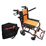 【軽い 丈夫 コンパクト】 Nice Way4 軽量 折りたたみ式 車椅子 【座面幅約40cm】【介助ブレーキ付き】【アルミ製】【ノーパンクタイヤ】【頑丈】(オレンジ)