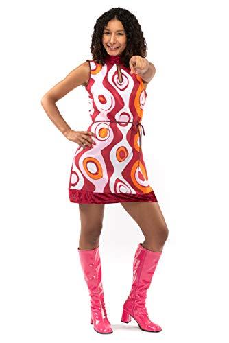 Original Replicas 70er Jahre Hippie Soul Disco Sixties Tanz Party Kleid mit hohem Verschluss S - XS bis 3XL