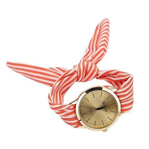 Armbanduhr Damen Uhr Xinnantime Mode Streifen Floralen Stoff Zifferblatt Armband Analoge Quarz Damenuhr Frauen Farbe 3 (Standard, Rot)