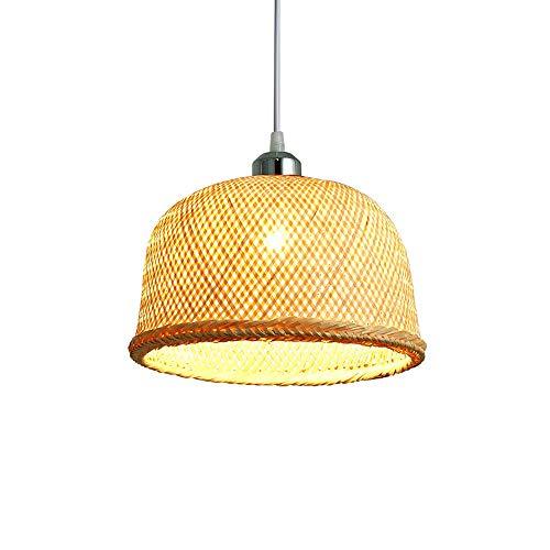 JISHIYU-C Lámpara de Techo de bambú E27 lámpara de luz Retro Accesorios de Mimbre Cuerpo de iluminación de la lámpara habitación dinging luz Pendiente Granja, Mimbre Rota...