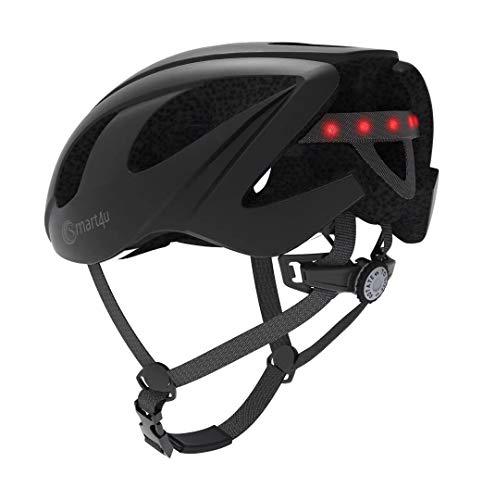 FPTB Inteligente Casco Bici con el Altavoz Bluetooth, Control Remoto inalámbrico Las Luces traseras/Equipo de walkie-Talkie/Música/SOS Alerta/Llamada antichoque Ciclismo Equipo Negro