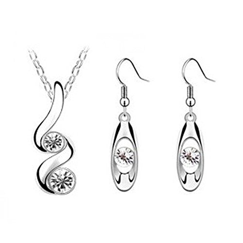 Set orecchini collana principessa sposa damigella d'onore matrimonio romantico creativo (Bianca)