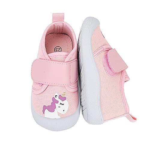 WateLves Baby Schuhe Jungen Mädchen Lauflernschuhe Weicher Rutschfesten Segeltuch Krabbelschuhe Klettverschluss Babyhausschuhe(JB402-Rosa Einhorn, 19EU)