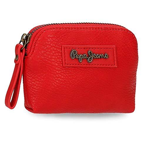 Pepe Jeans Chain Monedero Rojo 12x8x2 cms Piel sintética
