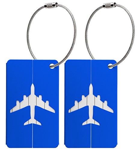 Kofferanhänger aus Metall mit Namensschild und Flug-Motiv 2 Stück (Blau metallic)