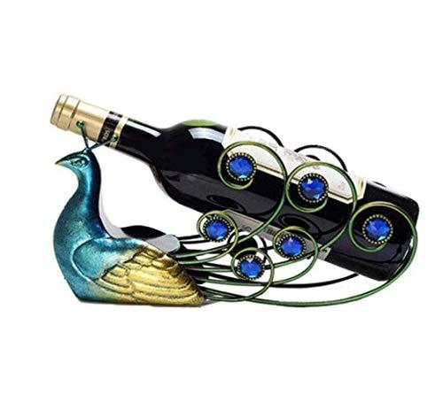 ZHHk Estante for Vinos Encimera Soporte for Estante for Vinos Decoración De Escritorio Ahorre Espacio Independiente Estante for Almacenamiento De Vinos Decoración for El Hogar Azul Pavo Real