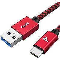 RAMPOW Cable USB Tipo C a USB 3.1 Gen 1 Cable USB C Cargador Rápid -[Garantía de por Vida]- Cable Tipo C Compatible con Samsung Galaxy S8/S9+/Note 8, HTC 10/U11/U12+, DELL XPS 13/15-2M, Rojo