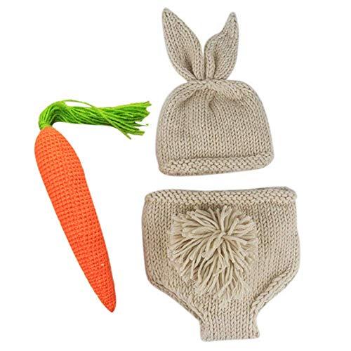 Haudang Accesorios para fotografía de recién nacido, para niños y niñas, Knit Rabbit