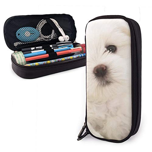 Zoo Animal White Puppy Students Big Capacity Leather Pencil Case Pen Pouch Stationery Craft Supplies for School Work Office Gift