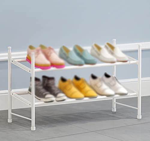 LYYJF Zapatero con 2 Niveles, Organizador de Zapatos de Tela no Tejida, para salón, vestidor,Blanco