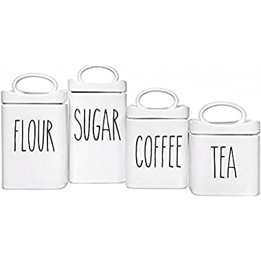 Rae Dunn Inspired Vinyl Stickers for Food Canisters (Canisters not included) Pack of 4 (Black)