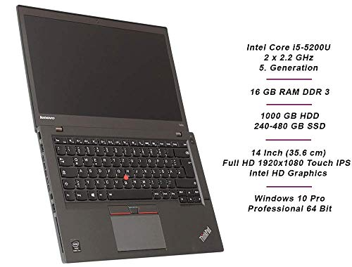 Lenovo ThinkPad T450s Business Notebook, Intel i5 2 x 2.2 GHz Prozessor, 8 GB Arbeitsspeicher, 240 GB SSD, 14 Zoll Touch Display, Full HD, 1920x1080, IPS, Windows 10 Pro, UMTS, AK0 (Generalüberholt)