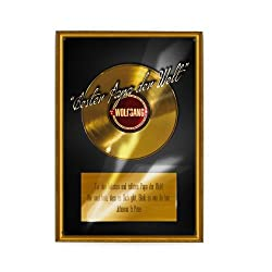 Herz & Heim® Blechschild Bester Papa - Goldene Schallplatte - Wunschname + Text - A4