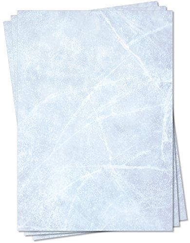 Gastronomie Papier (Blau-Eis-Marmor, DIN A5, 100 Blatt) für Speisekarten. Marmoriertes Papier, Marmorpapier zweiseitig bedruckt, für alle Drucker/Kopierer geeignet
