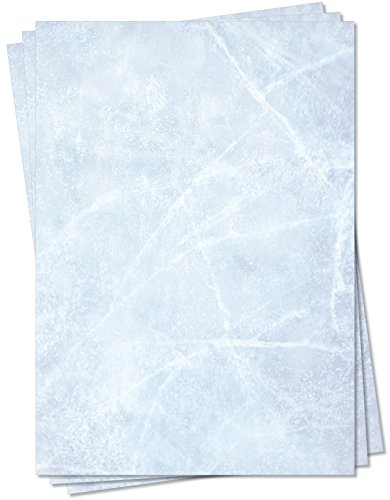 Gastronomie Papier (Blau-Eis-Marmor, DIN A5, 25 Blatt) für Speisekarten. Marmoriertes Papier, Marmorpapier zweiseitig bedruckt, für alle Drucker/Kopierer geeignet