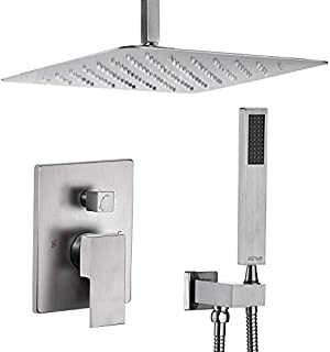 Esnbia Shower System, Ceiling Brushed Nickel Shower Faucet Set with High Pressure 12