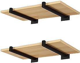 Plankdrager, zwart, 25 cm met lippen, 4 stuks, plankhouders voor wandplank, wandmontage, rekconsole, metaal, tot 55 kg bel...