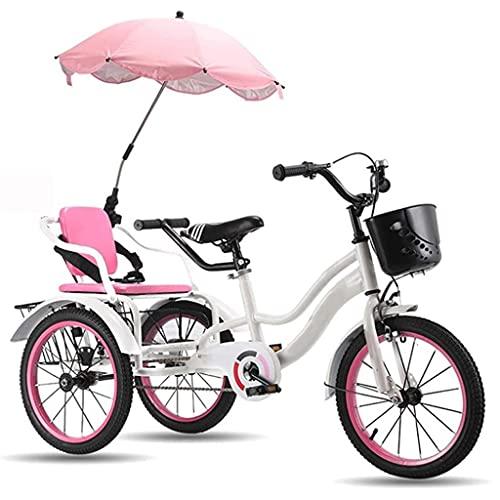 Triciclo para adultos bicicleta Niños De 3 A 12 Años De Edad, Pedal, Bicicletas, Niños, Niñas, Niñas, Bicicletas De Crucero Con Cubo Trasero Y Cesta Delantera, Bicicletas De 3 Ruedas Trike(Color:Rosa)