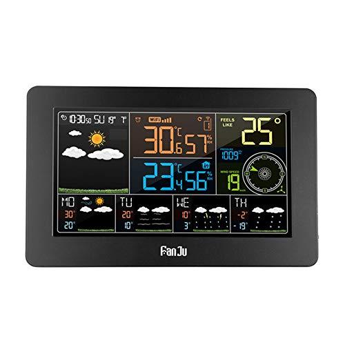 N/A FanJu FJW4 Digitaler Wecker Wetterstation Wifi Innen- und Außenbereich Temperatur Luftfeuchtigkeit LCD Uhr Druck Wind Wettervorhersage