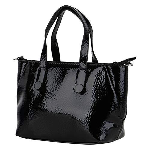 CARPISA Damen Handtaschen Kleine Taschen Lack Lederoptik Regulierbarer Schulterriemen Reißverschlussfach Freizeittaschen 198470 Schwarz