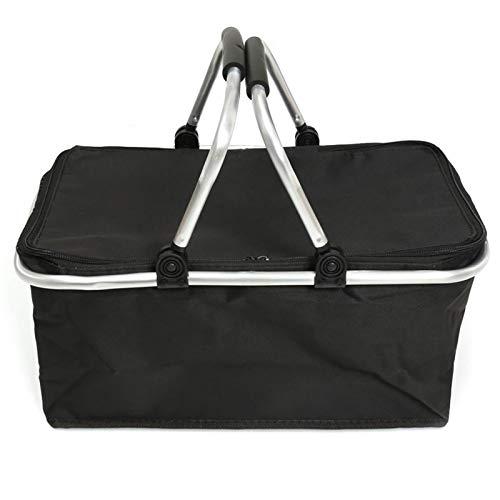 ZQO 30 l Faltbarer Einkaufskorb Thermokorb Picknicksac isolierter Einkaufskorb Kühltasche für Lebensmittel Getränke Aufbewahrung mit Doppelgriff