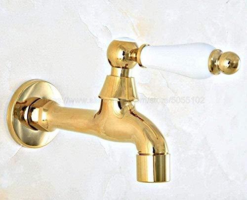Grifo de grifo exterior Grifo de latón dorado Baño montado en la pared Cinta de agua fría individual para fregadero de cocina Fregona Piscina Grifo de jardín al aire libre Grifo Grifo para exteriores