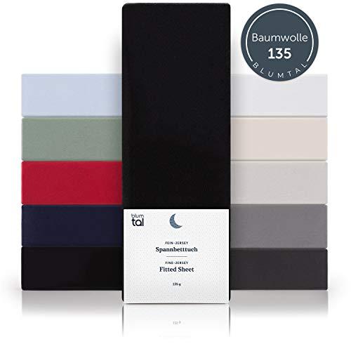 Blumtal Basics Spannbettlaken 90x 200 cm - 100% Baumwolle Bettlaken, bis 20cm Matratzenhöhe, Schwarz