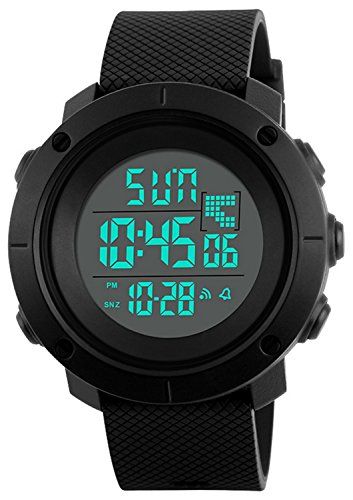 Digital Watch Mens Sports Water Resistant Outdoor Easy Read Military Back Light Black Big Face 1213 (blackA)