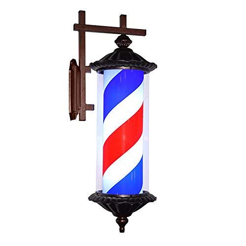 XCJJ Barber Pole Led Light Hair Salon Barber Shop Open Sign Rotating Rome Style Red White Blue Strips, Black,rouge