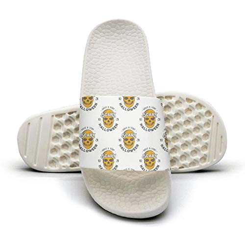 Sansalsk2 Women's Best Slipper Cute Halloween Skullwhite Lightweighted Open Toe Flat Shower Slides Shoes