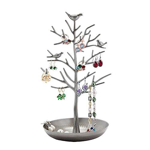 GAOU Soporte para Joyas en Forma de árbol con Pájaros para Colgar, Organizar y Exponer Pendientes, Collares, Pulseras, Mejor Regalo de San Valentín