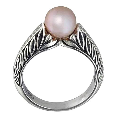 EzzySo Bagues de Perles Sculpées, Bijoux de Main Féminine Populaires Rétro de Mode Crémeativo, Accessoires, Cadeaux d'Anniversaire,6