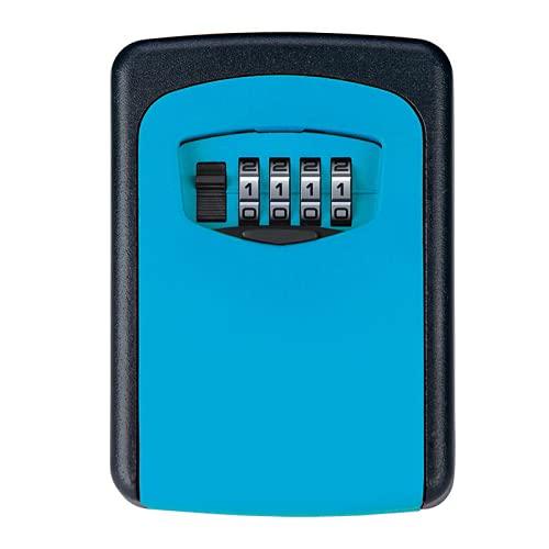BIUBIULOVE Caja de Cerradura con Llave montada en la Pared, Caja de Seguridad montada en la Pared Caja de Llave Almacenamiento de Llaves de Metal con Cubierta Deslizante, código reiniciable (Azul)