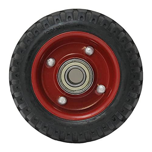 Rueda para carretilla de 15 cm de diámetro y 4,5 cm de grosor con tacos especial para pavimentos de difícil acceso. Neumático para carretillas con ondulaciones para distintos tipos de superficies