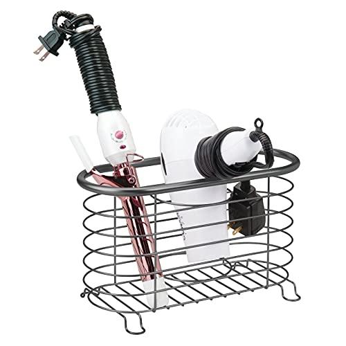 mDesign Fönhalter ohne Bohren für das Badezimmer – praktische Fönablage aus Metall – Glätteisen oder Fön Aufbewahrung für den Waschtisch oder das Regal – dunkelgrau
