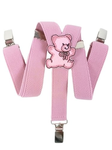 Olata Hosenträger für Babys 0-2 Jahre mit 3 Clips und Teddybär Design - Rosa