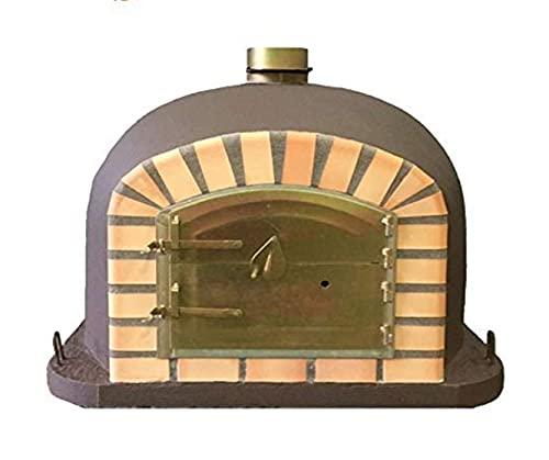 Brown Deluxe Wood Fired Pizza Oven, Orange Arch, Gold Door, 80cm x 80cm