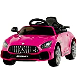 Uenjoy Electric Kids Ride On Car Mercedes Benz AMG GTR Motorized Vehicles with Remote Control, Battery Powered, LED Lights, Wheel Suspension, Music, Horn, TF Card, USB Port, Portable Handle, Pink