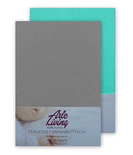 Doppelpack hochwertige Kinder Baby Jersey Spannbettlaken Spannbetttuch 60x120-70x140 cm - 140 g/m² Arle-Living (grau + mint)