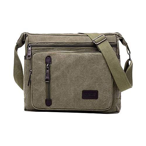 XYDZ Herren Umhängetaschen, Canvas Messenger Bag Leinwand Schultertaschen, Reise Umhängetasche Mehrere Taschen für Arbeit Und Schule (Olive Green)