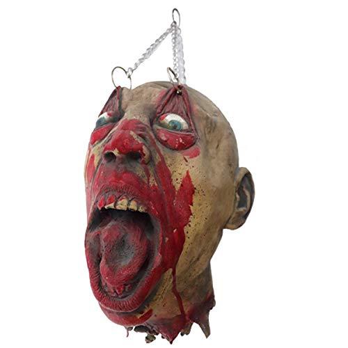 Amosfun Casa encantada Horror Gritando Cabeza de Hombre de Halloween Adorno colgante Habitación Escapes Accesorios decorativos para Halloween Suministros de fiesta