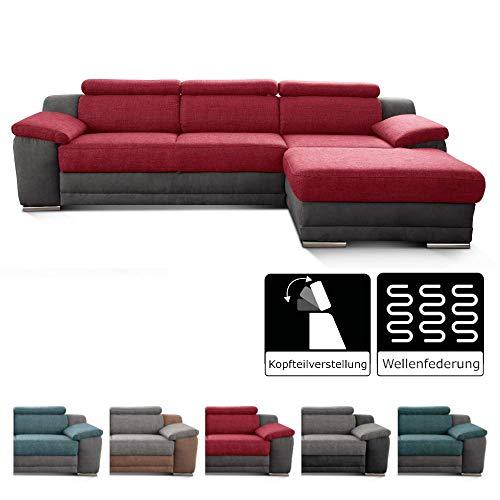 Cavadore Ecksofa Xenit mit Longchair rechts, L-Form Couch mit Kopfteilverstellung, 271 x 81-94 x 168, Materialmix rot - grau